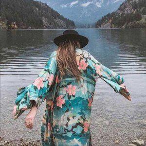 Boho Kimono Floral Bird Print Maxi Gypsy Coverup